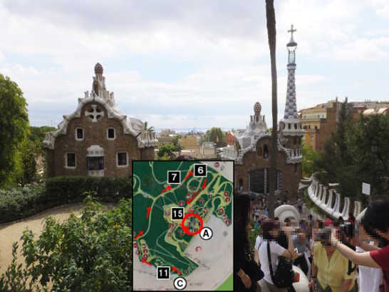 グエル公園72中央広場下_バルセロナ5-2ある日本人観光客のスペイン旅行記