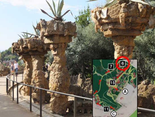 グエル公園02回廊_バルセロナ5-2ある日本人観光客のスペイン旅行記